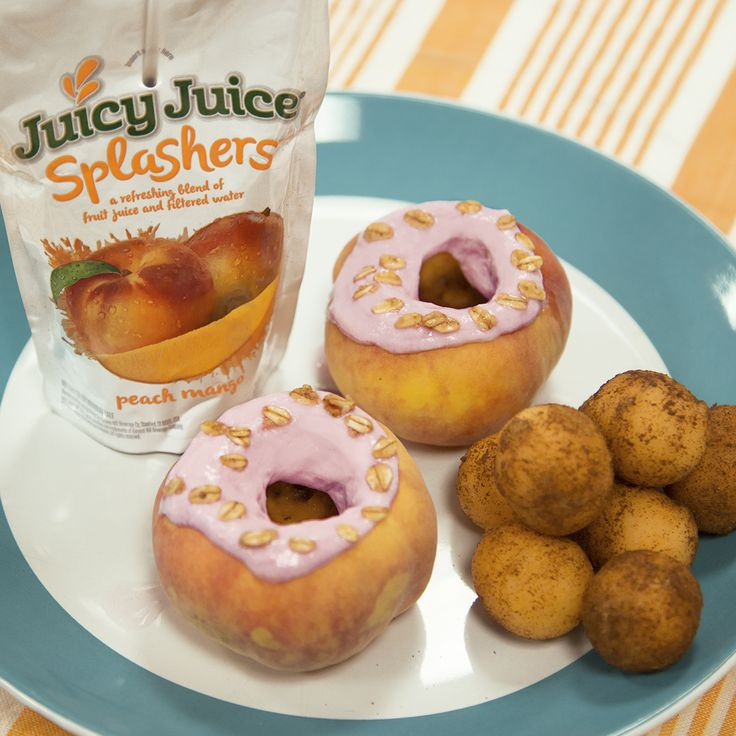 Can you believe that these donuts are made almost entirely from fruit?!  We used donut peaches, yogurt and melon balls dusted with cinnamon sugar. YUM!
