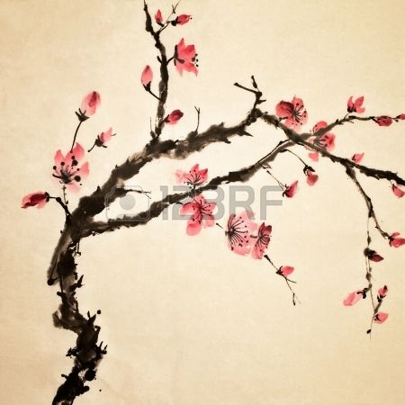 Chinesische Malerei traditionelle Kunst mit Blume in Farbe auf Kunstdruckpapier  Lizenzfreie Bilder
