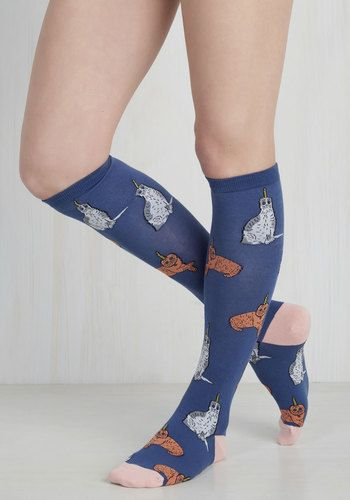 Bring legendary style to your wardrobe with these whimsical knee highs! Midnight blue in hue, with blush pink contrast, these socks star orange and grey kitties-turned-unicorns. How magical!