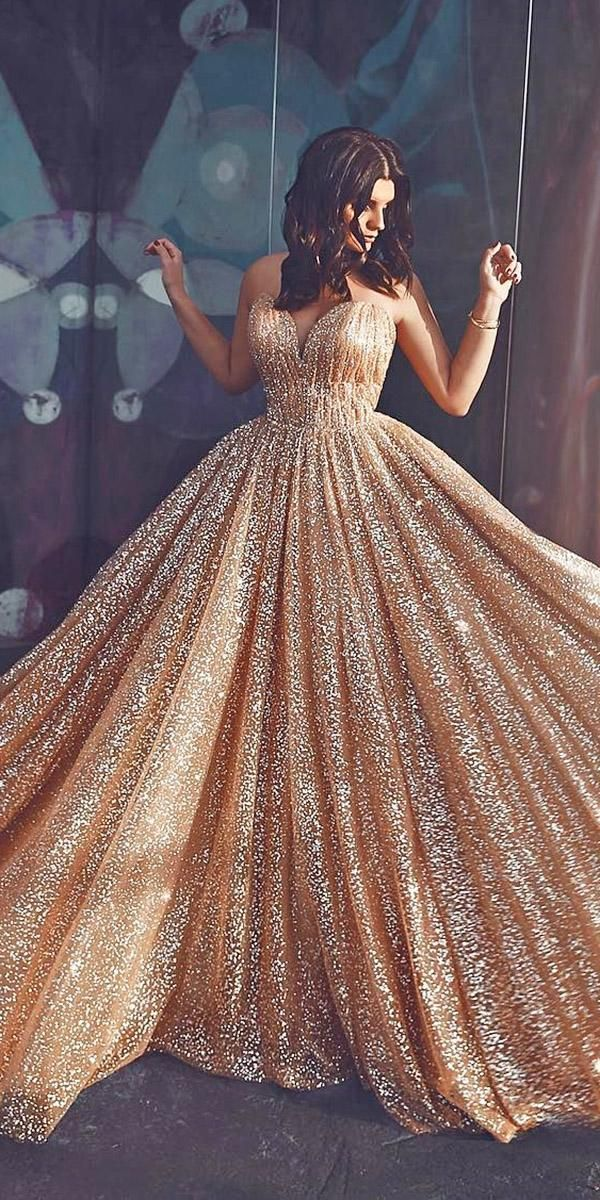 18 Gold Wedding Gowns For Brides To Shine Wedding Forward Rose Gold Wedding Dress Gold Wedding Dress Gowns