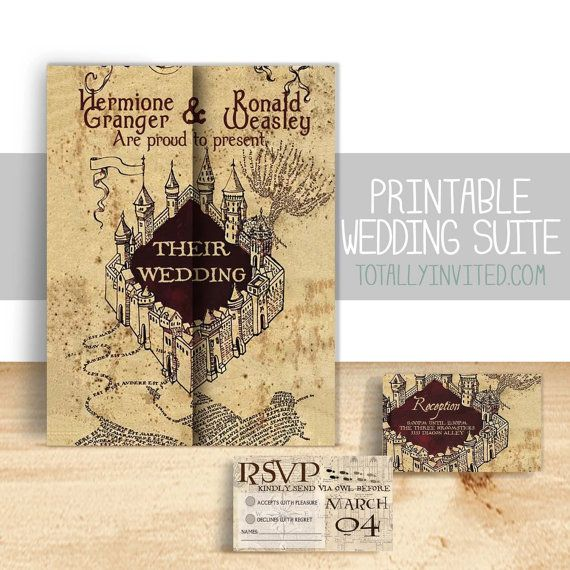 harry potter wedding invitation set marauders by totallyinvited - Harry Potter Wedding Invitations