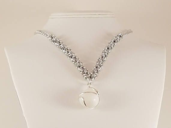 White Agate Necklace / White Agate Jewelry / Agate Necklace /