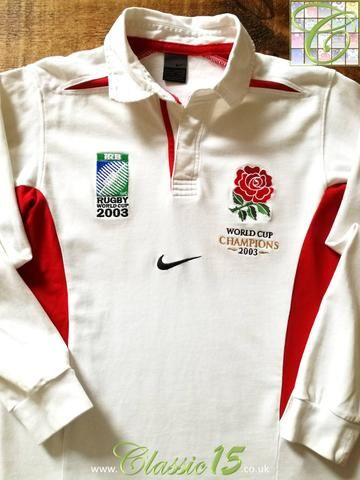 Official Nike England home long sleeve rugby shirt from the 2003/2004 international season. Complete with World Cup Champions 2003 patch, and 2003 Rugby World Cup logo on the chest.