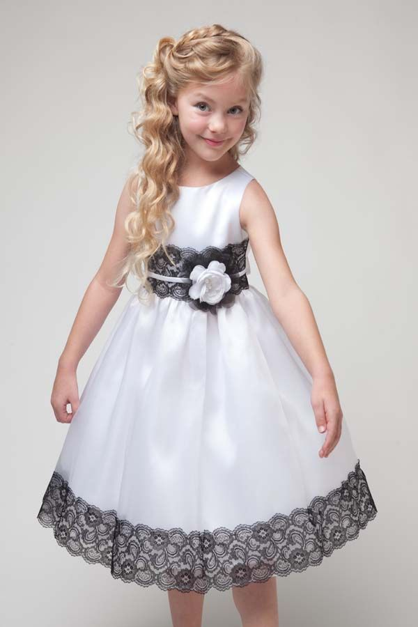 Satin and Organza Skirt with Lace Mid-Riff and Hem