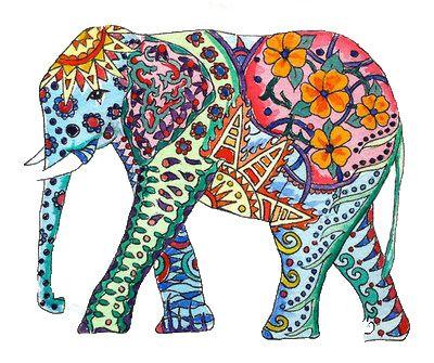 mandalas and doodles: colorful elephant