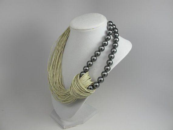 Flower necklace natural linen thread Linen necklaces Blue natural Linen Bib Necklace eco jewelry art unique gift natural linen