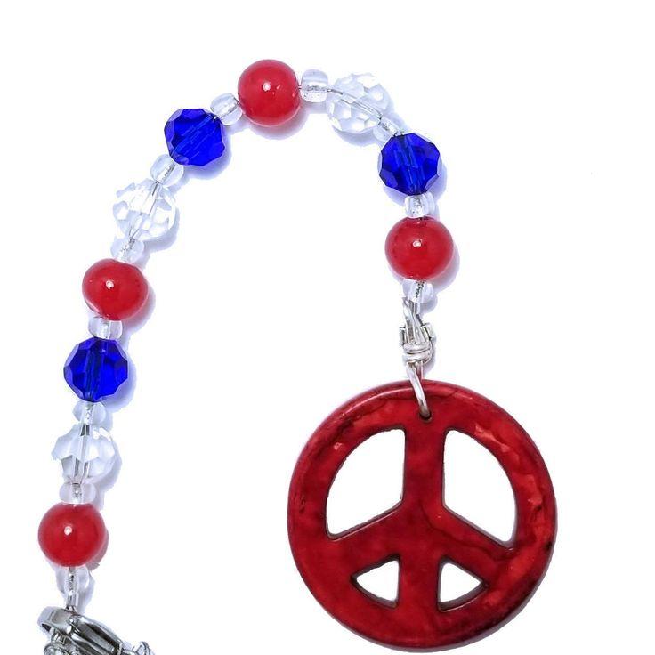 Hängender Rückspiegel Auto Charm – Friedenszeichen, patriotische rote, weiße und blaue Kristallperlen