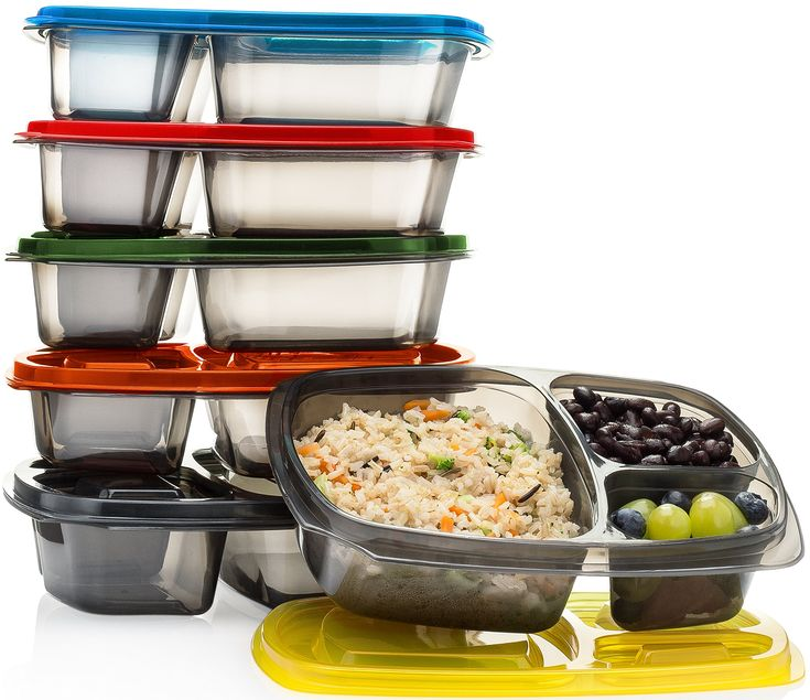 Divided Lunch Containers For Meal Prep. Best Lunch Bento Box Set for Kids & Adults. BPA Free & FDA Approved. Premium Quality & Top Rated (3 Compartments, Set of 6) -Mealports.
