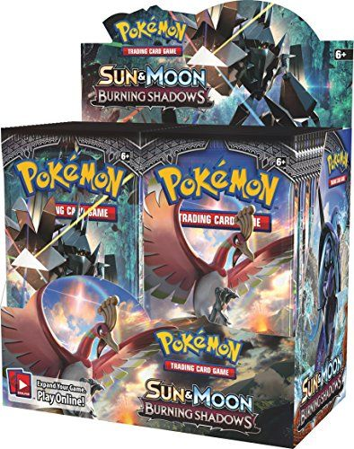 Pokemon TCG Sun & Moon Burning Shadows Booster Display Box Factory Sealed  Each booster display box contains 36 booster packs, each pack contains 10 random TCG cards plus an online code card!  Fight for what's right with the Pokémon TCG: Sun & Moon-Burning Shadows expansion!  or battle with trusty allies from Machamp-GX and Charizard-GX to Darkrai-GX and Ho-Oh-GX!  Release Date: August 04 2017  What strange fires lurk in the shadows? Slug it out with new titans like Necrozma-GX and Tap...