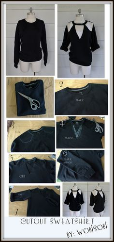 WobiSobi: Cut Out Sweatshirt DIY.                                                                                                                                                                                 More