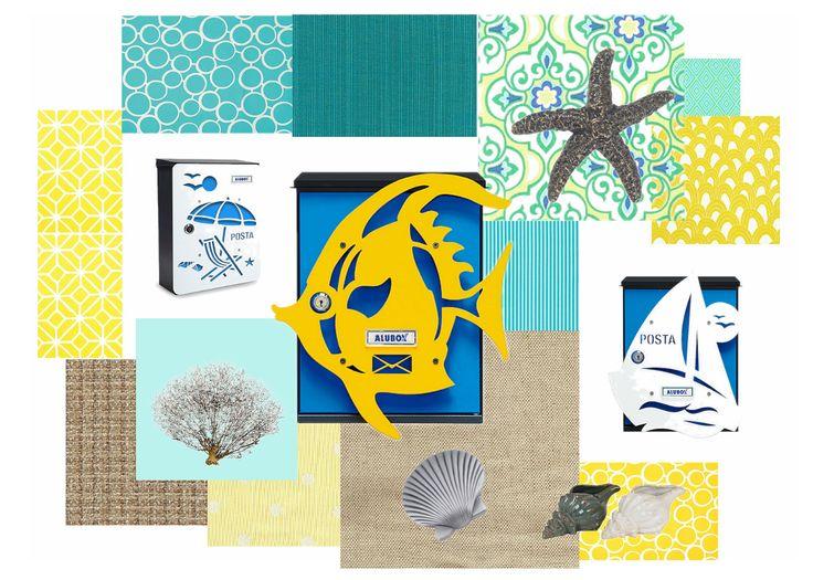 Tutti al mare! Anche le nostre cassette postali si vestono da spiaggia! #pesce #ombrellone #barcaavela #mare #spiaggia #azzurro #turchese #giallo #sabbia #conchiglie