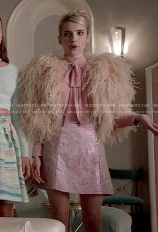 Chanel's feather bolero, pink blouse and metallic skirt on Scream Queens.  Outfit Details: http://wornontv.net/52419/ #ScreamQueens