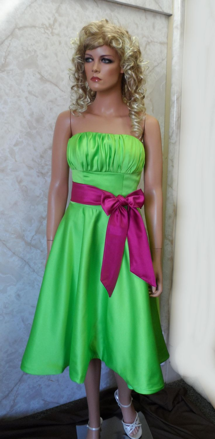 70 best green bridesmaid dresses images on pinterest bridal short green bridesmaid dress with fuschia sash ombrellifo Images