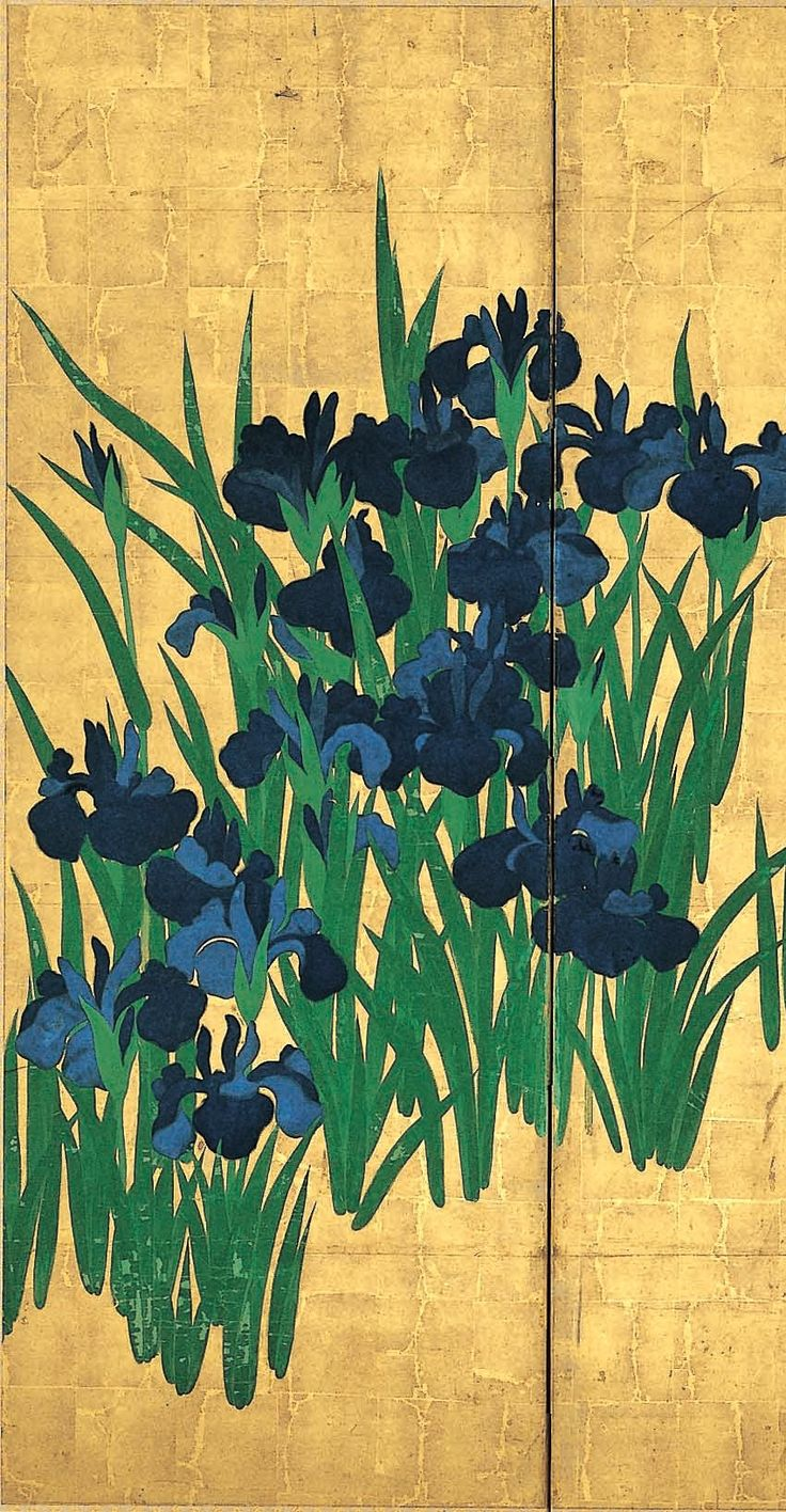High resolution detail. Irises. Ogata Korin. Right of two six-section folding screens (byōbu). Ink and color on paper with gold leaf background. Located at the Nezu Art Museum, Tokyo. Formerly held by the Nishi Honganji, Kyoto. National Treasure of Japan.