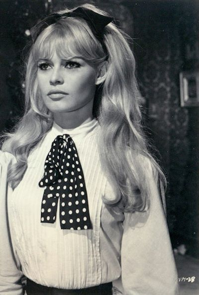 brigitte bardot style -  big blonde hair and classy chic blouse