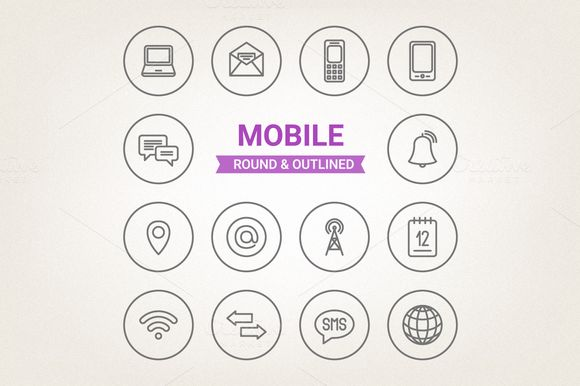 Circle mobile icons by miumiu on Creative Market
