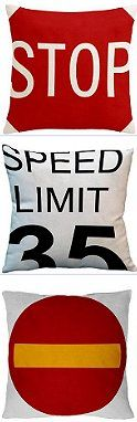 Traffic Signs Decorative Pillow covers