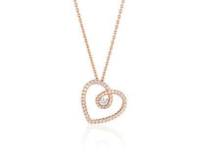 Diamond Heart Pendant in Pink Gold - DeBeers