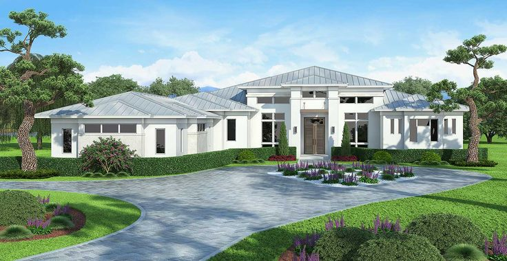 Contemporary House Plan with Outdoor Living and Dining Areas - 86031BW | Contemporary, Florida, Luxury, 1st Floor Master Suite, Bonus Room, Butler Walk-in Pantry, Den-Office-Library-Study, Split Bedrooms, Corner Lot | Architectural Designs