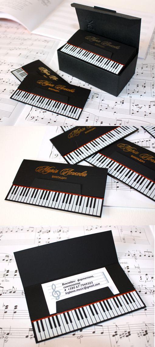 Clever Die Cut Black Business Card Design For A Piano Teacher