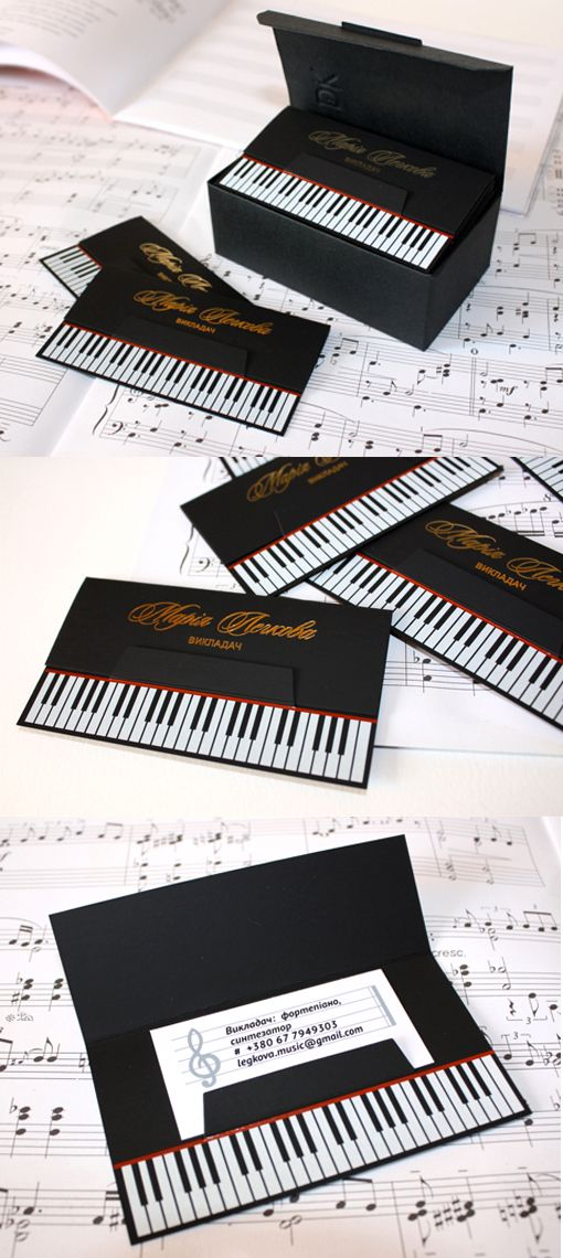 Clever Die Cut Black Business Card Design For A Piano Teacher: