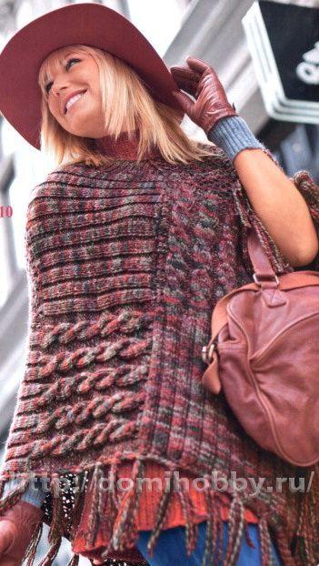 Узорчатое пончо. Вязание - Шали, палантины, шарфы, схемы и описание    Need translation