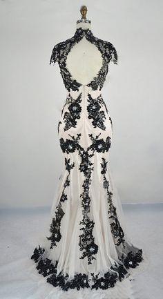 Black White Wedding Gown / Classic Lace Elegant Summer Banquet Dress $330.00