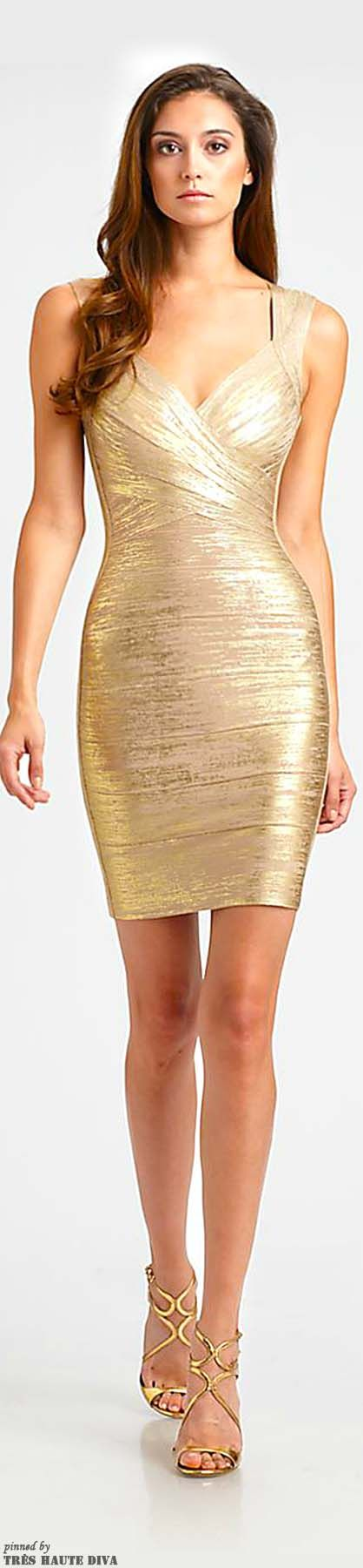 White and Gold Wedding. Mother of the Bride. Mother of the Groom. Herve Leger Metallic Bandage Dress