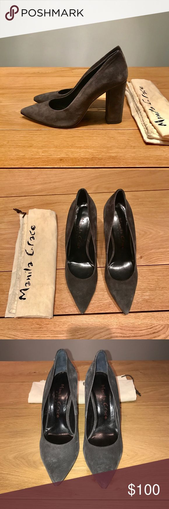 Manila Grace Gray Point Court Suede Heels Sz 39 Manila Grace Gray Suede Pointed Court Shoes Size 39.  Shoes bought in Italy and worn out once - good condition shoe fits true to size 4 inch block heel. Comes with dust bag manila grace Shoes Heels