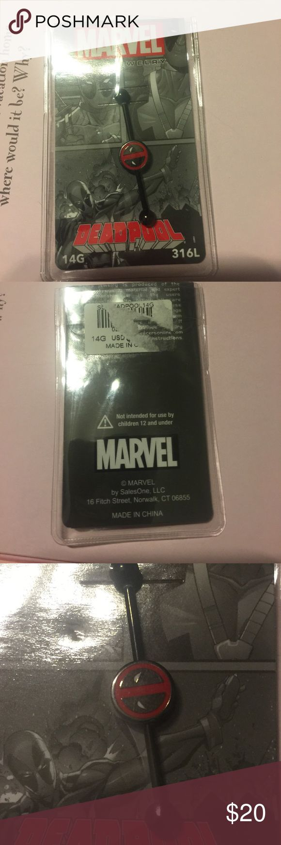 Marvel deadpool industrial barbell earring Marvel deadpool barbell.   14g.   Opened but never used Marvel Jewelry Earrings