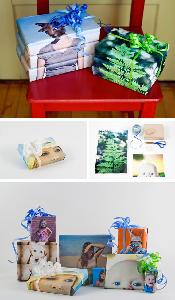DIY photo wrapping paper!  so cool...