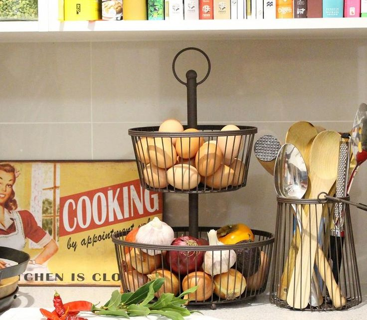 Two-Tiered Wire Stand & Wire Utensil Holder