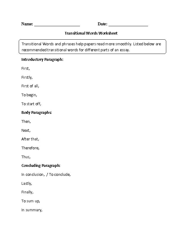 Englishlinx.com   Transitional Words Worksheets