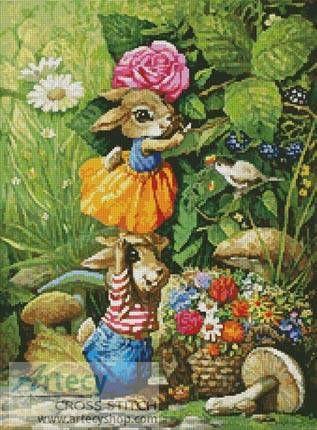 Rabbits picking Flowers