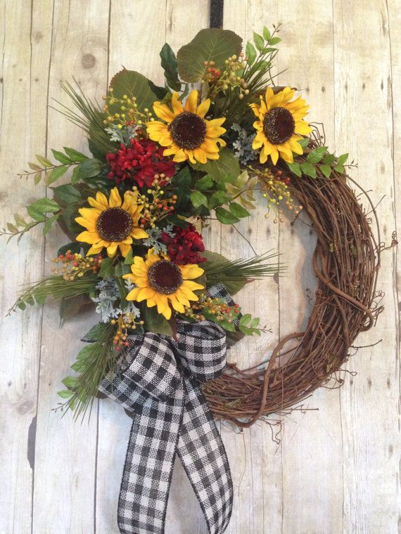 Sunflower Wreath  Front Door Wreath  Summer Door Wreath  Summer Wreath   Grapevine Wreath