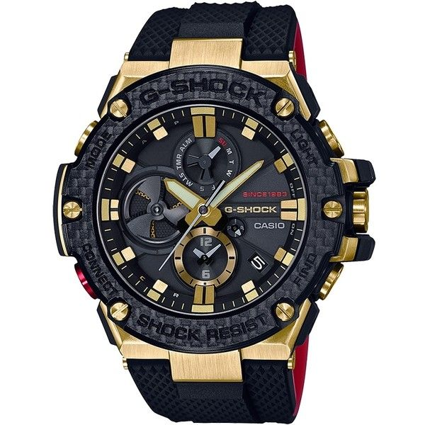 Casio G-Shock Gold Tornado G-Steel Black Solar Watch ($750) ❤ liked on Polyvore featuring men's fashion, men's jewelry, men's watches, mens stainless steel watches, casio mens watches and mens gold watches
