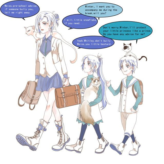 The Schnee siblings as children on the way to school | Aw, big sister Winter is looking out for little Weiss | Whitley, you will be a jerk in any universe