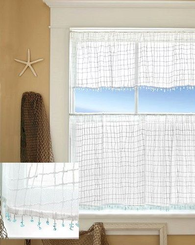 Sea Splash Sheer Curtains.  Sea Glass fringed valances and panels in 2-piece sets. Set Price:72-115