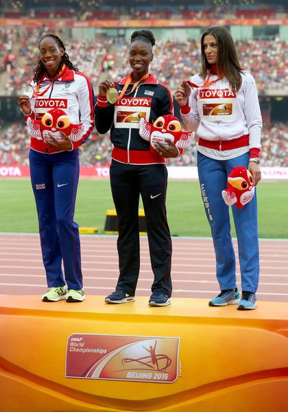 (L-R) Silver medalist Shara Proctor of Great Britain, gold medalist Tianna Bartoletta of the United States and bronze medalist Ivana Spanovic of Serbia pose on the podium during the medal ceremony for the Women's Long Jump final during day eight of the 15th IAAF World Athletics Championships Beijing 2015 at Beijing National Stadium