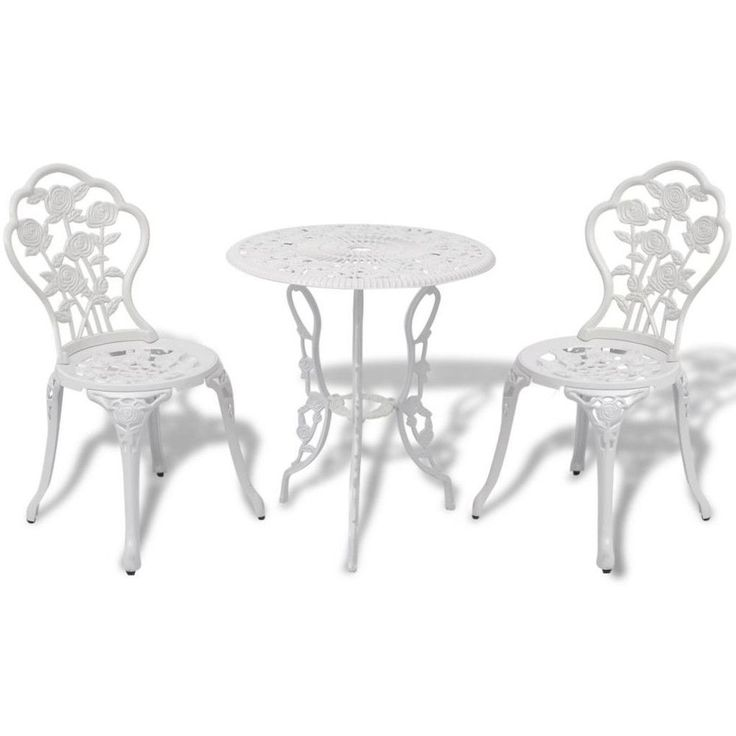 Vintage Bistro Set Outdoor Garden Patio Furniture Round Table and 2 Chairs White