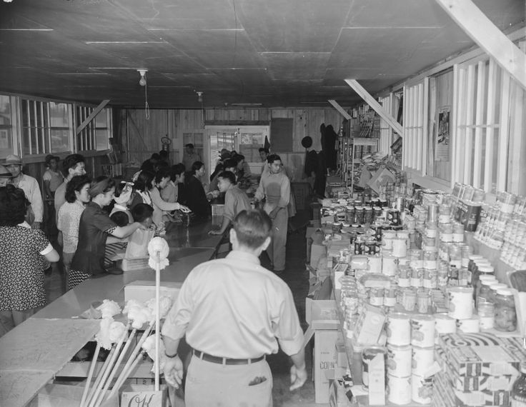 Cooperative store in Block 8 of Jerome War Relocation Center, Arkansas, 17 Nov 1942 (US National Archives)