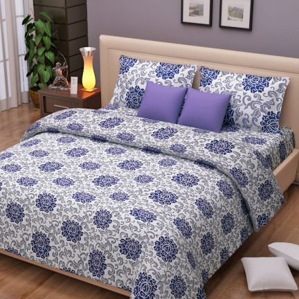 Ratan Jaipur Modern Bed Cover White, Blue And Grey - White, blue and lilac looks awesome on this modern bed set. It's made of cotton sheeting! It's available in 3 variations- king bed sheet, double and bed sheet of three. You can also gift this attractive set for wedding anniversary!