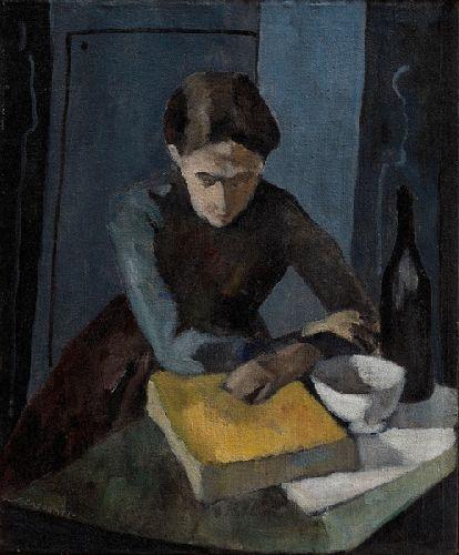 Felice Casorati, Donna con la scodella e il libro giallo, 1942, Olio su tela, 55x45