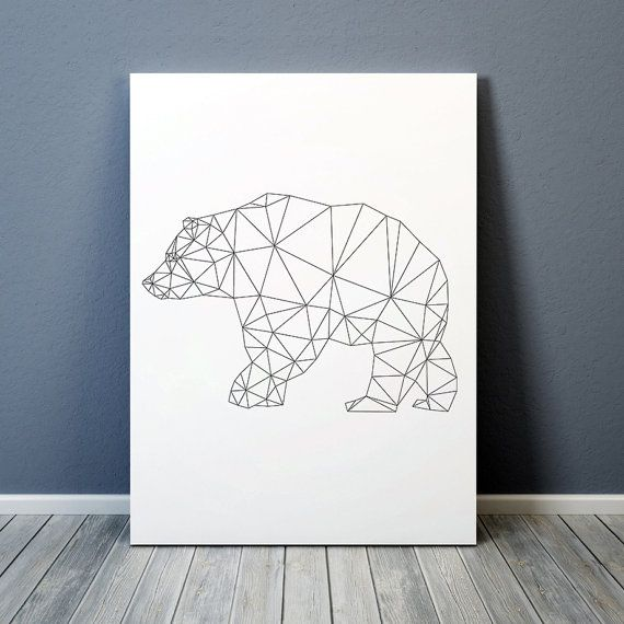Triangle decor for home and office. Lovely line art. Animal poster. Geometric bear print. Available in two sizes: A4 (8.2x11) and A3 (11.6x16.5).