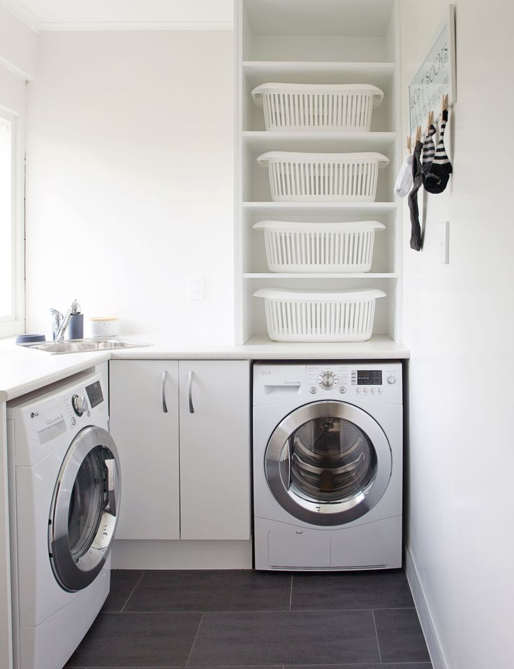 This bright laundry room has loads of functional style