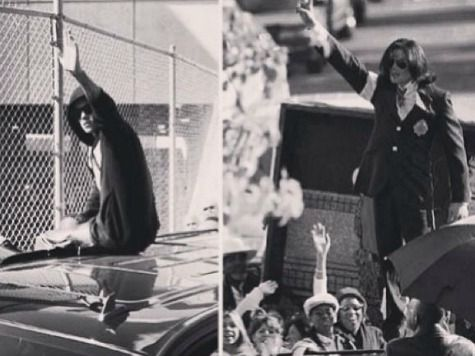 Justin Bieber compares himself to Michael Jackson - Bieber released an instagram graphic that showed a picture of him waving to fans after his arrest next to an image of the late Michael Jackson striking a similar pose.