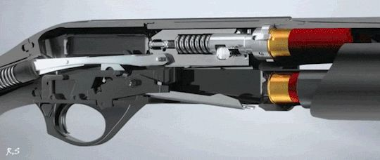 Semi-automatic shotgun action.