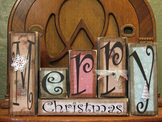 Shabby Chic Christmas Sign Word Blocks  by PunkinSeedProduction