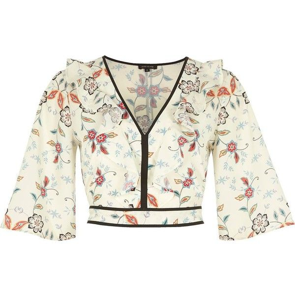 River Island Cream floral print frill crop top ($35) ❤ liked on Polyvore featuring tops, cream, crop tops / bralets, women, bell sleeve tops, 3/4 sleeve crop top, white bell sleeve top, flounce tops and v neck crop top
