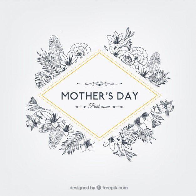 Insignia floral del día de la madre en estilo retro